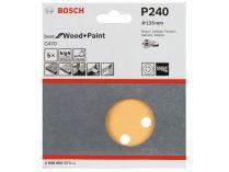 5x Brusný papír do excentrické brusky Bosch C470 - 125mm, zr.240, 8 otvorů, suchý zip