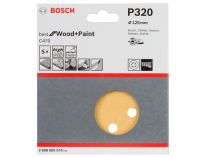 5x Brusný papír do excentrické brusky Bosch C470 - 125mm, zr.320, 8 otvorů, suchý zip