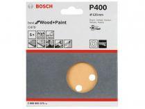 5x Brusný papír do excentrické brusky Bosch C470 - 125mm, zr.400, 8 otvorů, suchý zip