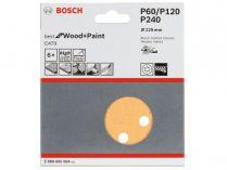 5x Brusný papír do excentrické brusky Bosch C470 - 125mm, zr.60/120/240, 8 otvorů, suchý zip