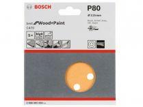 5x Brusný papír do excentrické brusky Bosch C470 - 115mm, zr.80, 8 otvorů, suchý zip