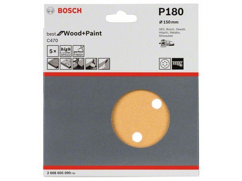 5x Brusný kotouč do excentrické brusky Bosch C470 - 150mm, zr.180, 6 otvorů, suchý zip (2608605090) Bosch příslušenství