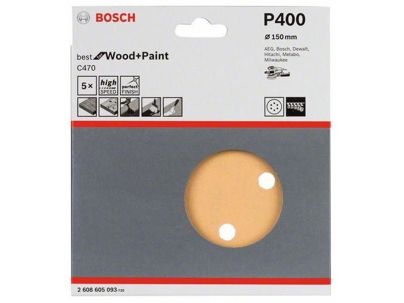 5x Brusný kotouč do excentrické brusky Bosch C470 - 150mm, zr.400, 6 otvorů, suchý zip (2608605093) Bosch příslušenství