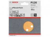 5x Brusný papír do excentrické brusky Bosch C470 - 115mm, zr.120, 8 otvorů, suchý zip