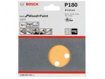 5x Brusný papír do excentrické brusky Bosch C470 - 115mm, zr.180, 8 otvorů, suchý zip
