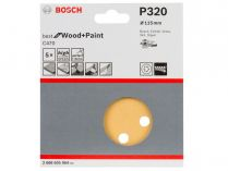 5x Brusný papír do excentrické brusky Bosch C470 - 115mm, zr.320, 8 otvorů, suchý zip