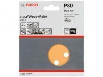 5x Brusný papír do excentrické brusky Bosch C470 - 125mm, zr.80, 8 otvorů, suchý zip