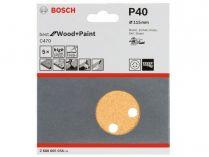 5x Brusný papír do excentrické brusky Bosch C470 - 115mm, zr.40, 8 otvorů, suchý zip