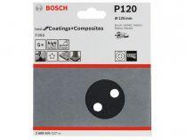 5x Brusný kotouč do excentrické brusky Bosch F355 - 125mm, zr.120, 8 otvorů, suchý zip