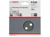 5x Brusný papír do excentrické brusky Bosch F355 - 125mm, zr.320, 8 otvorů, suchý zip