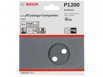 5x Brusný papír do excentrické brusky Bosch F355 - 125mm, zr.1200, 8 otvorů, suchý zip