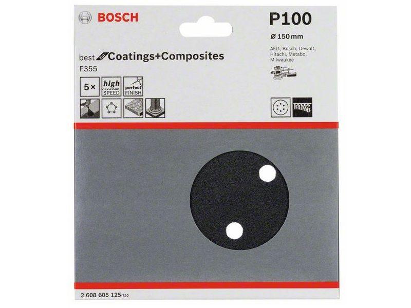 5x Brusný kotouč do excentrické brusky Bosch F355 - 150mm, zr.100, 6 otvorů, suchý zip (2608605125) Bosch příslušenství