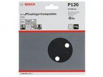 5x Brusný kotouč do excentrické brusky Bosch F355 - 150mm, zr.120, 6 otvorů, suchý zip