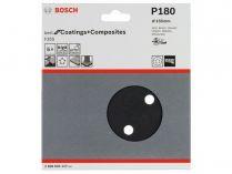 5x Brusný kotouč do excentrické brusky Bosch F355 - 150mm, zr.180, 6 otvorů, suchý zip