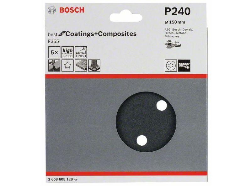 5x Brusný kotouč do excentrické brusky Bosch F355 - 150mm, zr.240, 6 otvorů, suchý zip (2608605128) Bosch příslušenství