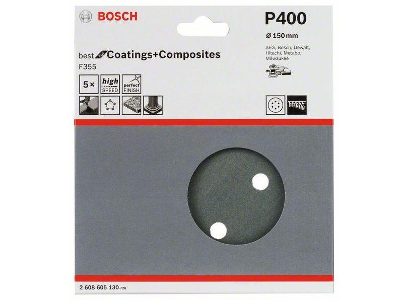 5x Brusný kotouč do excentrické brusky Bosch F355 - 150mm, zr.400, 6 otvorů, suchý zip (2608605130) Bosch příslušenství