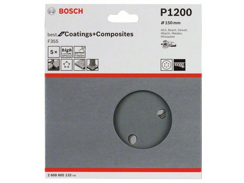 5x Brusný kotouč do excentrické brusky Bosch F355 - 150mm, zr.1200, 6 otvorů, suchý zip (2608605132) Bosch příslušenství