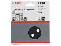 5x Brusný kotouč do excentrické brusky Bosch F355 - 115mm, zr.120, 8 otvorů, suchý zip