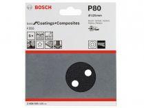 5x Brusný papír do excentrické brusky Bosch F355 - 125mm, zr.80, 8 otvorů, suchý zip