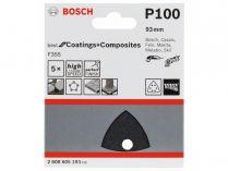 5x Brusný papír do delta brusky Bosch F355, 93mm, zr.100, 6 otvorů