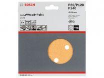 6x Brusný kotouč do excentrické brusky Bosch C470 - 150mm, zr.60/120/240, 6 otvorů, suchý zip