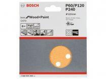 6x Brusný papír do excentrické brusky Bosch C470 - 115mm, zr.60/120/240, 8 otvorů, suchý zip