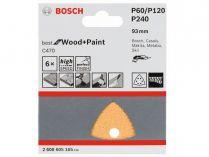 6x Brusný papír do delta brusky Bosch C470, 93mm, zr.60/120/240, 6 otvorů