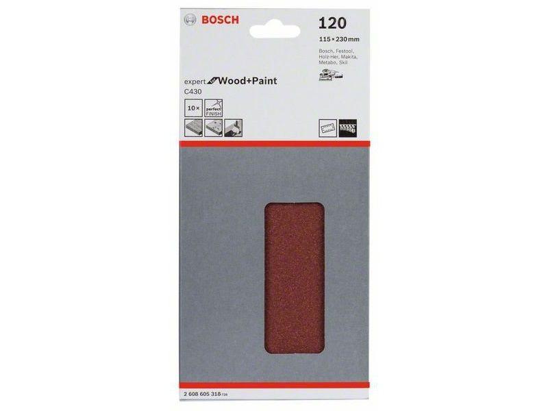 10x Brusný papír do vibrační brusky Bosch C430, 115x230mm, zr.120, 14 otvorů (2608605318) Bosch příslušenství