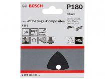 5x Brusný papír do delta brusky Bosch F355, 93mm, zr.180, 6 otvorů