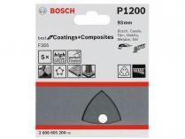 5x Brusný papír do delta brusky Bosch F355, 93mm, zr.1200, 6 otvorů
