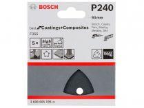 5x Brusný papír do delta brusky Bosch F355, 93mm, zr.320, 6 otvorů