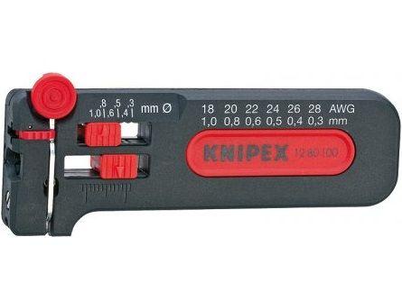 KNIPEX - kleště odizolovací - miniodizolovač 100mm - na tenké měděné vodiče Ø 0.12-0.4mm (1280040SB)