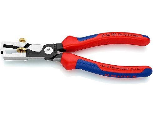 KNIPEX StriX - kleště odizolovací - 180mm - pro vodiče max. Ø 5mm, AWG 8.0mm;10mm², s funkcí lisování (1362180)