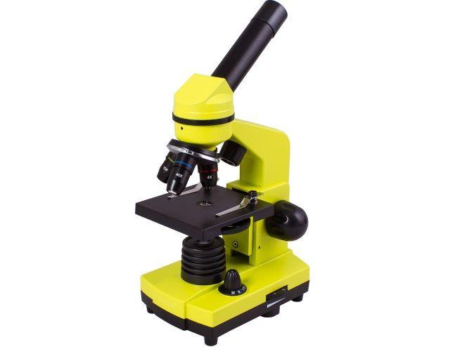 Mikroskop Levenhuk Rainbow 2L Lime, zvětšení 40-400x, síťový adaptér, 3 baterie AA, zelený (57120030)