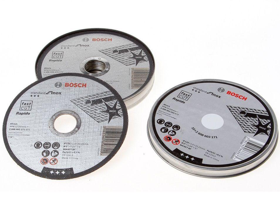 Řezné kotouče Bosch Standard for Inox 125mm/1,0 na železo, kov a nerez - 10ks, v plechovém boxu (2608603255) Bosch příslušenství