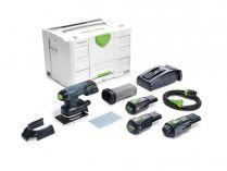 Bezuhlíková aku vibrační bruska Festool RTSC 400 Li 3,1 I-Set - 2x 18V/3.1Ah, příslušenství, kufr