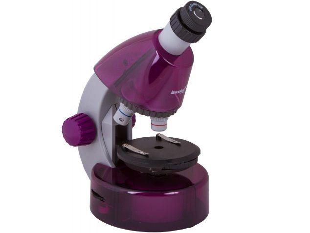 Mikroskop Levenhuk LabZZ M101 Amethyst, objektivy: 4x,10x,40x, 2 baterie AA, zvětšení 640x, fialový (57120050)