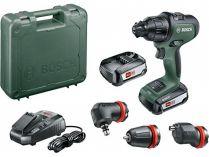 Bosch AdvancedImpact 18 - 2x 18V/2.5Ah, 32Nm, 1.1kg, nástavce, kufr, aku vrtačka bez příklepu
