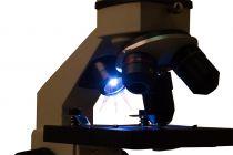 Mikroskop Levenhuk Rainbow 2L PLUS Moonstone, zvětšení 64-640x, pro průhledné, poloprůhledné i neprůhledné preparáty, šedý (57120036)