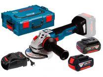 Bosch GWS 18V-10 C Professional - 2x 18V/5.0Ah, 125mm, 2.0kg, kufr, bezuhlíková aku úhlová bruska