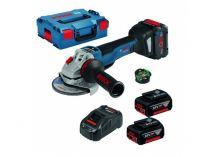 Bosch GWS 18V-10 PSC Professional - 2x 18V/5.0Ah, 125mm, BT modul, kufr, bezuhl. aku úhlová bruska