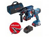 Sada aku nářadí Bosch Professional: GDX 180-LI + GBH 180-LI + 2x aku 18V/4.0Ah + dárek