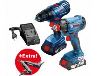 Sada aku nářadí Bosch Professional: GDX 180-LI + GSR 180-LI + 2x aku 18V/1.5Ah + kufr + dárek