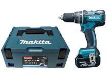 Makita DHP480RMJ - 2x 18V/4.0Ah, 1.5kg, Li-Ion, bezuhlík. aku vrtačka s příklepem + Kufr Systainer