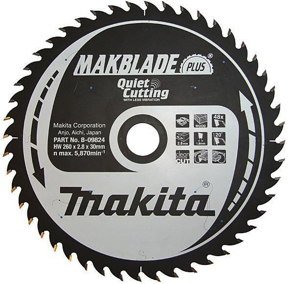 Pilový kotouč na dřevo Makita B-09824 MAKBLADE PLUS, 260x30mm, 48 zubů, do pokosové a stolní pily (podélný/příčný řez)