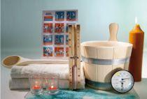 Zobrazit detail - 6ti dílný set do sauny a infrasauny: měřič teploty a vlhkosti, přesýpací hodiny, naběračka, 3L vědro