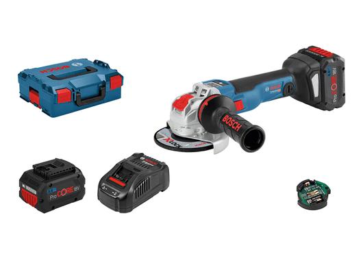 Bezuhlíková aku úhlová bruska Bosch GWX 18V-10 SC (X-LOCK) Professional - 2x aku 18V/8.0Ah, 125mm, BT modul, kufr (06017B0401) Bosch PROFI