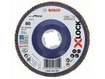 Lamelový brusný kotouč X-LOCK Bosch Best for Metal, 115mm, zr.80, rovný