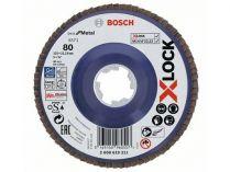 Lamelový brusný kotouč X-LOCK Bosch Best for Metal, 125mm, zr.80, rovný