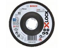 Lamelový brusný kotouč na kov pro úhlové brusky se systémem X-LOCK Bosch Best for Metal - 125mm, zrnitost 80, 22.23mm, X571, šikmá verze, fíbrový list (2608619203) Bosch příslušenství